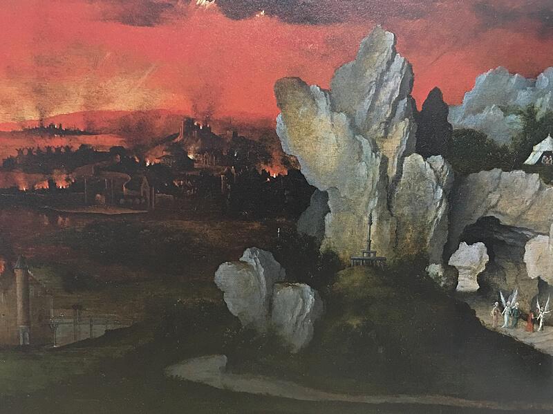 ヨアヒム・パティニール作「ソドムとゴモラの滅亡がある風景」購入の図録より