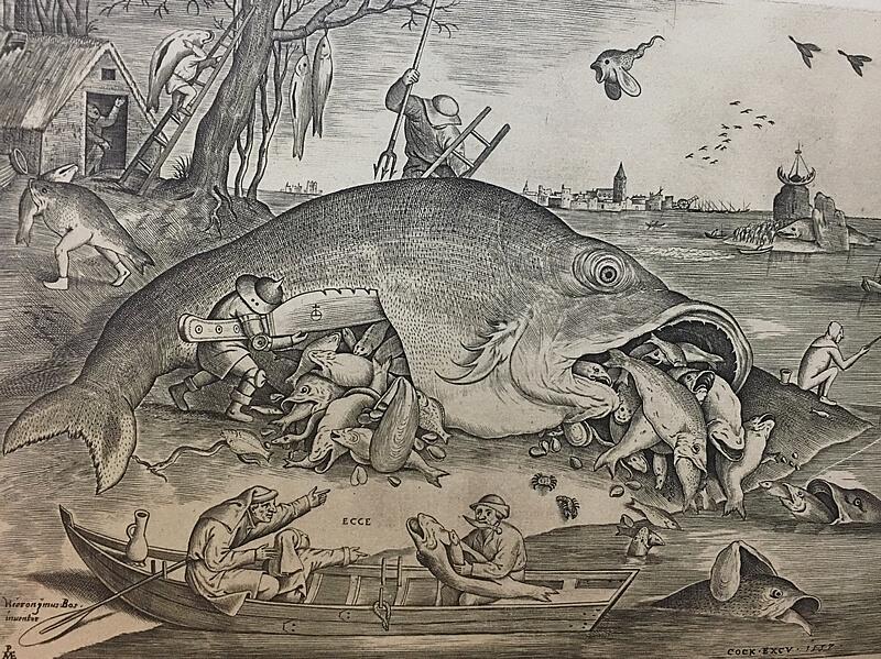 ブリューゲル作「大きな魚は小さな魚を食う」購入の図録より