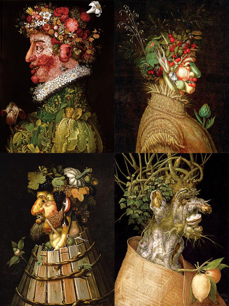 連作「四季」。左から春、夏、秋、冬。