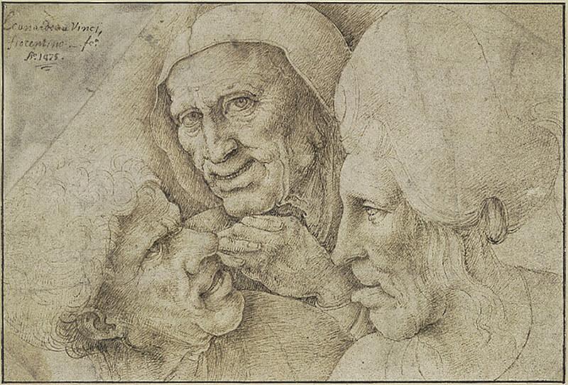 レオナルド・ダ・ヴィンチに基づく《男女の頭部のカリカチュア》ペン、褐色インク/紙